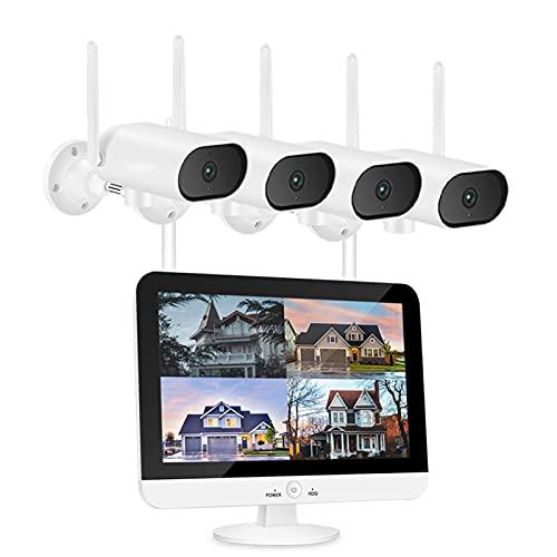 BaoYPP HD CCTV Sistema de cámara 3MP WiFi Al Aire Libre IP Cámara con La Visión Nocturna De 13'de Pantalla De Pantalla. IP66 Detección De Movimiento Impermeable Micrófono Incorporado Fácil de Usar