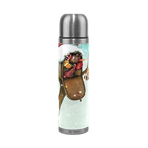 COOSUN Kerst brievenbus en konijnen in de winter bos roestvrijstalen flessen waterfles vacuüm geïsoleerde beker lek bewijs dubbele vacuüm fles, PU leder reizen thermische mok, 17 oz