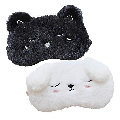 Shinywear 2 Pcs Cute Sleepping Eyemask Black Cat & White Dog Animal Cartoon Style Silk Feeling Plush Eye-Shade Cover Blinder