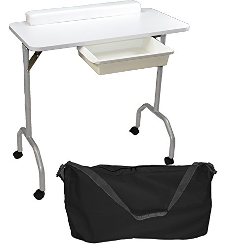 LCL Beauty Portable Folding 1-Drawer Manicure Table with Client Wrist Pad and Free Carrying Case