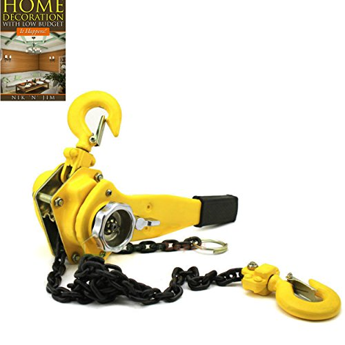 Come Along Puller Winh Tool 1.5 Ton Lever Capacity 5FT Lifter 1-1/2 Heavy Dute Ratchet Type Block Chain Hoist Cold Rolled Steel - House Deals