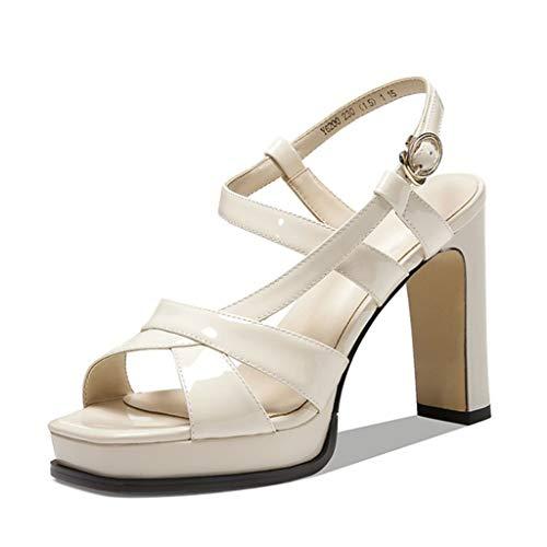 Sandalias tacón para mujer,Zapatos de boda fiesta de boda para hebilla Sandalias de punta abierta de tobillo de ocio al aire libre,White- 36/UK 3/US 5