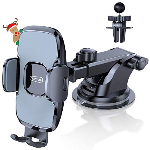 TORRAS Car Phone Holder Mount, [Hands-Free] 3 in 1 Cell Phone Holder for Car Dashboard Windshield Air Vent, Compatible with iPhone 12 11 Pro Max SE XS Max XR X 8 Plus Samsung Galaxy S20 Note 20 Ultra