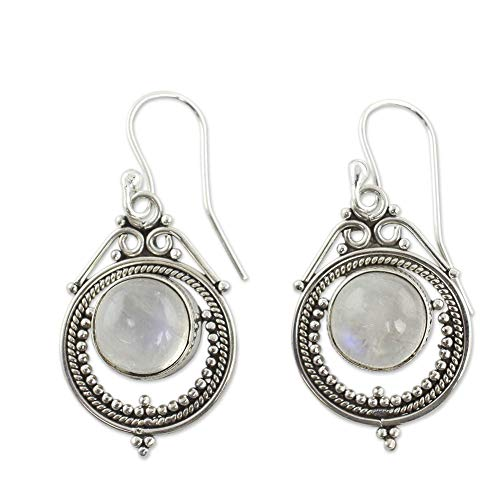 Bangle009 - Pendientes de gancho vintage para mujer, diseño de piedra lunar