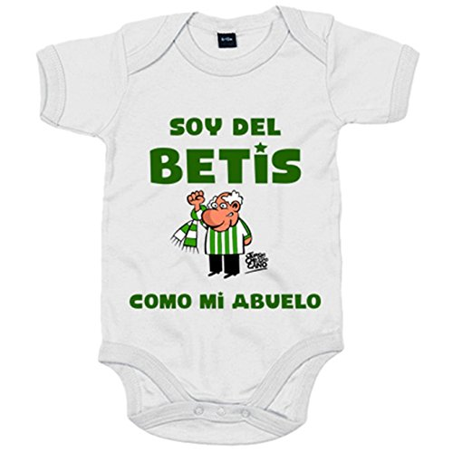 Body bebé frase soy del betis como mi abuelo ilustrado por Jorge Crespo Cano - Blanco, Talla única 12 meses