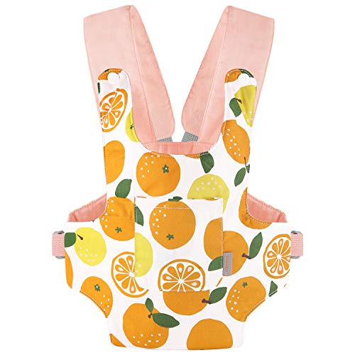 GAGAKU Baby Doll Carrier Front and Back Stuffed Toy Carrying Cross Shoulder Straps Carriers for Girls Snap Fastener - Orange