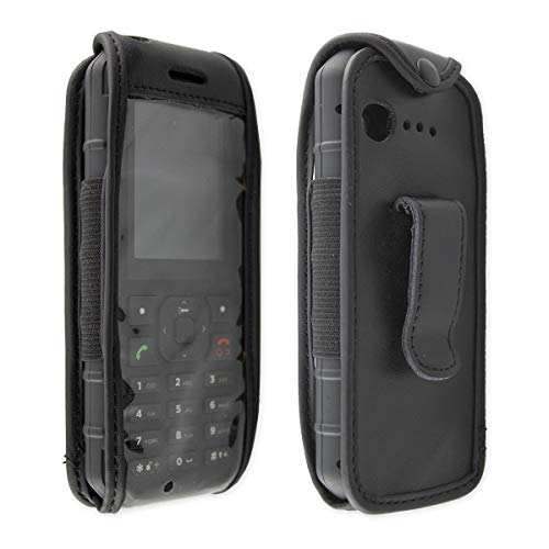 caseroxx Hülle Ledertasche mit Gürtelclip für Cat B35 aus Echtleder, Tasche mit Gürtelclip und Sichtfenster in schwarz