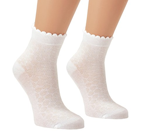 Vitasox 21095 Mädchen Kinder Socken Kindersocken Baumwollsocken Mädchensocken Filetsöckchen weiß einfarbig Wellen-Abschlußrand ohne Naht 3er Pack 35/38
