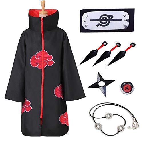 Naruto Akatsuki Mantel für Kinder Erwachsener Unisex Cosplay Kostüm, Cosplay Halloween Weihnachten Party Kostüm Umhang Umhang mit Stirnband, Ring, Kakashi Kunai und Ninja Shuriken. (XS)