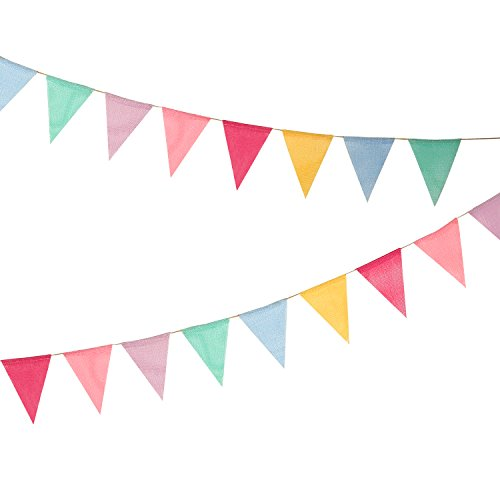 12 Multicolor Flags Imitated Burlap Bunting Banner Pastel Rainbow Decor Fabric Triangle Flag for Party Birthday Wedding Kids Room Classroom Decoration