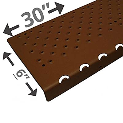 "Handi-Treads Non Slip Aluminum Stair Nosing, Powder Coated Black, 6"" x 30"" with Color Matching Wood Screws, Each"