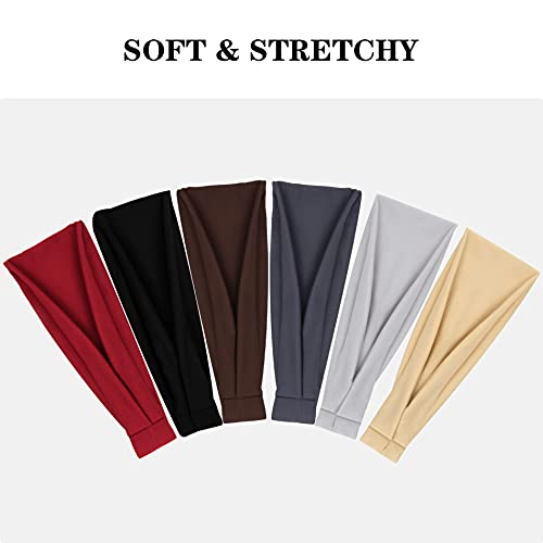 olyee Workout Headbands, 6 Pack Elastic Athletic Hairband Yoga Running Sports Cotton Hairband Tie Dye Non Slip Sweat Headbands Workout Hair Fashion Bands for Women Girls