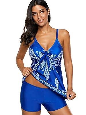 Zando Women Two Piece Swimsuits Retro Swimwear Swimsuit with Boyshorts Bathing Suit Royal Blue Floral Print Small (US 4-6)