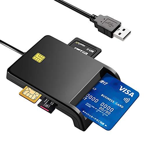 接触型ICカードリーダーライター CAC/SD/Micro SD (TF)/SIM スマートカードリーダー USB接続 国税電子申告 e-Tax 自宅で確定申告 ICチップのついた住民基本台帳カード マイナンバーカード 住基カードに対応 Windows Mac OS対応 (ブラック)