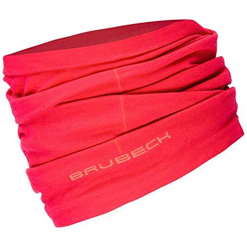 BRUBECK X-PERT Merinowolle Funktionstuch Damen | Schlauchschal 54% Merinowolle | Funktionsschal Sport | Halstuch | Multifunktionstuch nahtlos | Radfahren | Gr. L - XL | Himbeere | KM10360