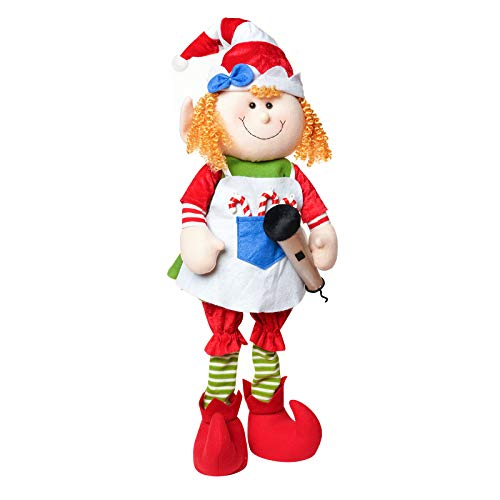 ALLYORS Christmas Poseable Plush Elves Doll for Xmas Home Decoration, 27'' Boy Girl Elves Characters, with Adjustable Legs for Sitting Standing Laying, Santa Helper on Shelf or Under Tree (PetLover)