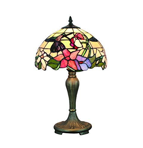 Tokira Eisvogel Tiffany Tischlampe 50 Hoch, 12 Zoll Retro-Blumengarten Glasmalerei Traditionellen Lampenschirm, Komfortable Art Deco Nachtlicht, im Wohnzimmer Schlafzimmer Verwendet