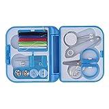 Hilo de coser completo con estilo Aguja Tijera Dedal Mini Caja de almacenamiento de plástico Kit de costura Herramienta para uso en viajes domésticos/Azul