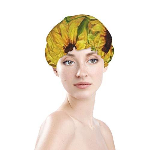 Bienvenido llegó al gorro de ducha Autumn Garden, exterior impermeable, forro de PEVA, diseño de gran tamaño para todos los largos de cabello, dobladillo elástico