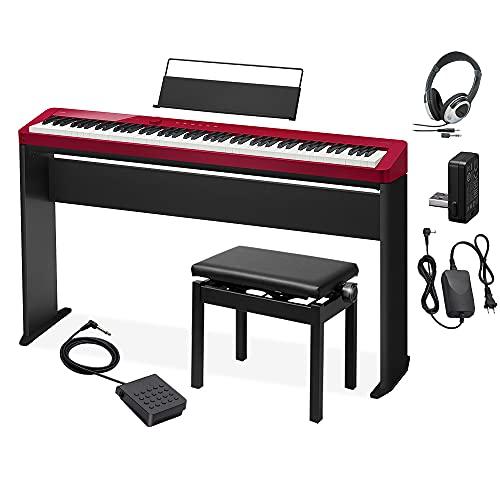 CASIO PX-S1100 RD レッド 電子ピアノ 88鍵盤 ヘッドホン・専用スタンド・高低自在イスセット カシオ