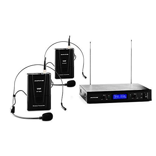 Malone VHF-400 Duo 2 - set de micrófonos inalámbricos VHF de 2 canales, 2 x micrófonos de diadema inalámbricos, alcance de 50 m, volumen ajustable por canal, reducción de ruido interno, negro