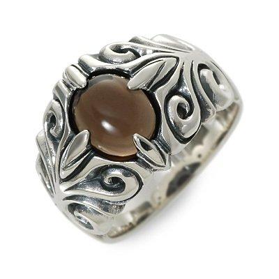 [マジェスフィッセン] シルバー リング 指輪 クォーツ ブラウン メンズ 30.0号 OZR-046-SQA-30
