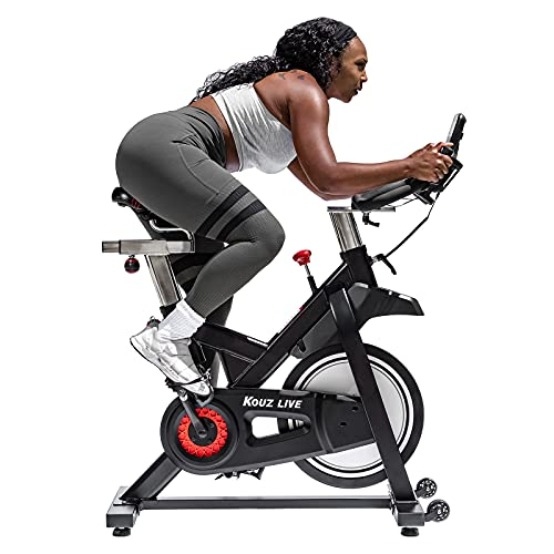 KOUZ LIVE Exercise Bike Magnetic Resistance Stationary Bikes, Indoor Cycling for Home with Comfortable Seat Cushion, Tablet Mount and LCD Monitor, 330 Lbs Weight Capacity (Black)