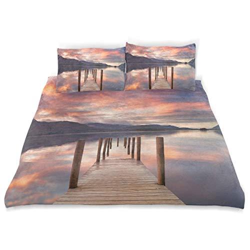 Set copripiumino Landscape Flooded Jetty England Print Set di 3 pezzi decorativo di biancheria da letto con 2 fodere per cuscini