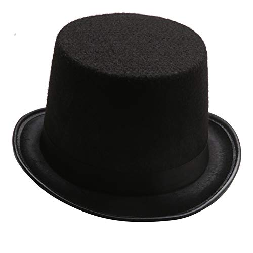 Funny Black Felt kids Top Hat - Dress Up Lincoln Hats for Magician or Ringmaster Costumes