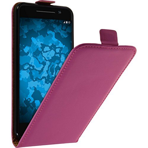 PhoneNatic Kunst-Lederhülle kompatibel mit HTC One A9 - Flip-Hülle pink + 2 Schutzfolien