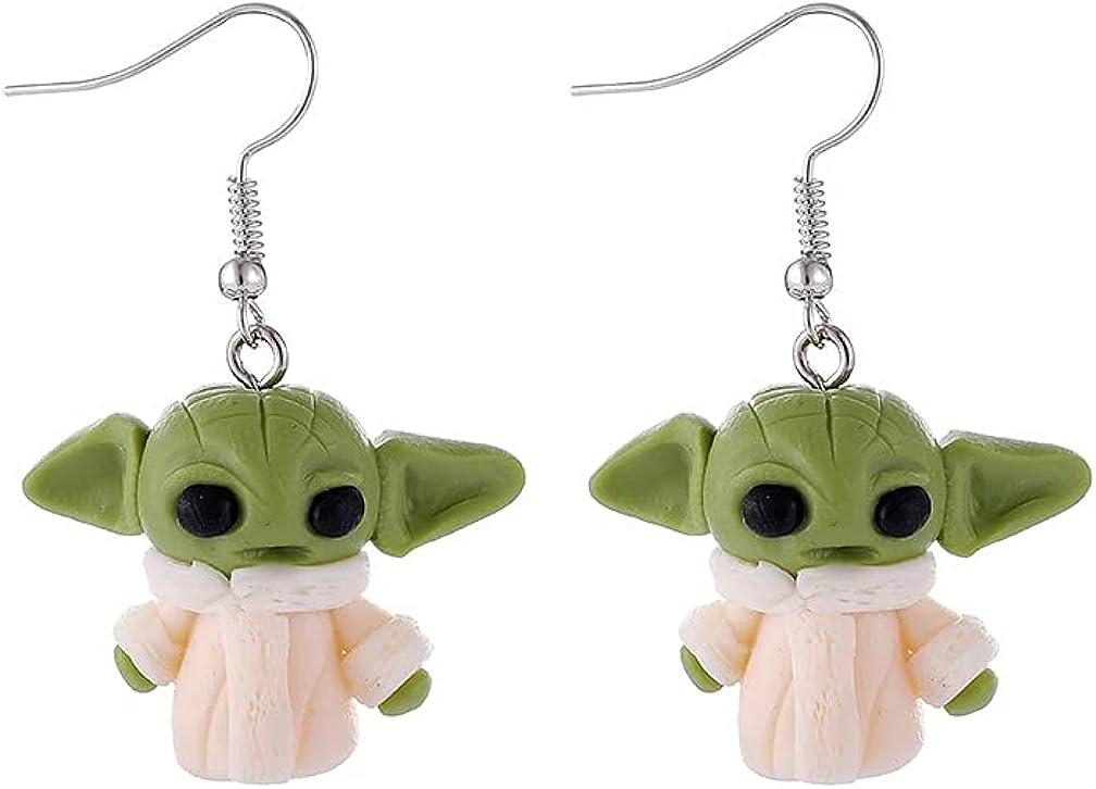 ZDP Star Wars Mandalorian Baby Yoda Grogu Earrings Gift Jewelry Men Women Kids