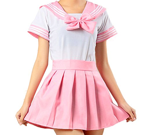 WenHong Japan School Uniform Dress Cosplay Costume Anime Girl Lady Lolita (Asia Small, Pink02)