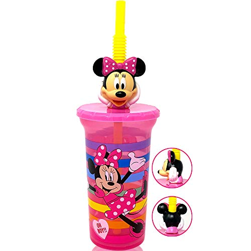 Disney Minnie Mouse Water Tumbler with 3D Character Head Straw Drinkware - Safe BPA free Bottles, Easy to Clean, Perfect Gifts for Kids Boys Girls Toddlers for Home Travel Goodies