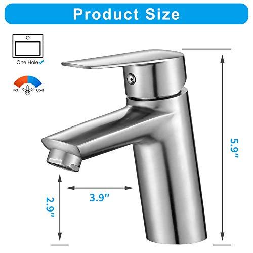 MULIN Bathroom Faucet, Deck-Mount Single Handle Bathroom Sink Faucet, Lavatory Vanity Faucet, Heavy Duty SUS 304 Stainless Steel, Brushed Nickel