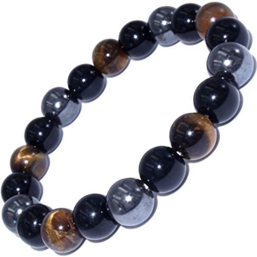 Dreifaches Schutzarmband mit Tigerauge Obsidian und Hämatit Natursteinen, Größe 18 cm, Perlen 1 cm