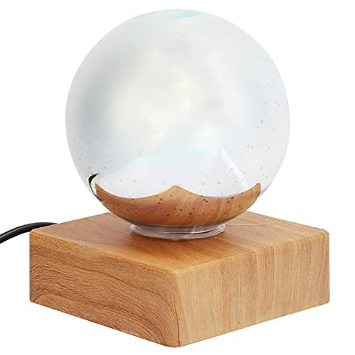 Surebuy Bola de luz de Luna, Brillo, luz de Noche de Cristal Blanco cálido y frío, Enchufe USB con Soporte de Madera para Festivales de cumpleaños, Regalos para el hogar, mejoras para bebés, niñas