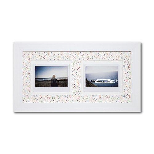 Instax Rahmen Party - Einrahmung für Instax Fotos - Instax Wide, Instax Mini, Instax Square - Bilderrahmen mit Echtglas und Aufhänger für Hoch und Querformat - dekoratives Passepartout mit Rückwand - 2 Fotos im Rahmen
