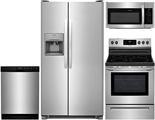 Frigidaire 4-Piece Stainless Steel Kitchen Package with FFSS2615TS 36' Side-by-Side Refrigerator, FFEF3054TS 30' Freestanding Electric Range, FFCD2418US 24' Full Console Dishwasher and FFMV1645TS 30'