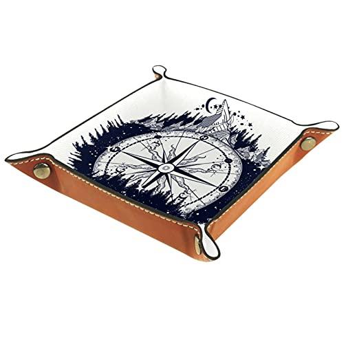Bandeja de cuero organizador bandeja de almacenamiento bandeja de joyería bandeja de accesorios para carteras, relojes, llaves, monedas, teléfonos celulares y equipos de oficina brújula