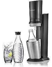 Sodastream Pack Spécial avec Machine à Eau Pétillante et Soda Crystal Noir, 2 carafes en Verre 0,6 L et 1 Cylindre de CO2 60 L