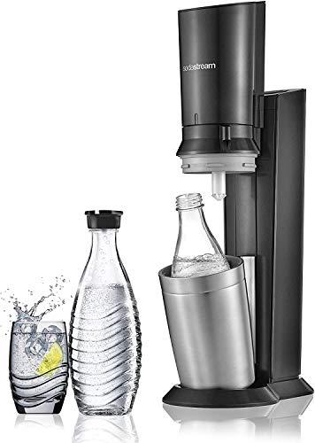 Sodastream Pack Spécial Machine Crystal en Alu Brossé Gris/Noir + 2 Carafes en Verre de 0.6L Réutilisables à l'Infini pour Préserver la Qualité et la Finesse des Bulles