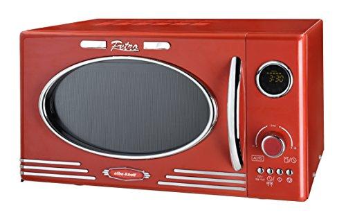 Efbe-Schott SC MW 2500 DG R Microondas Digital de Estilo Retro con función Grill y programas automático, 1000 W, 25 litros, Metal, Cristal, Plástico, Rojo