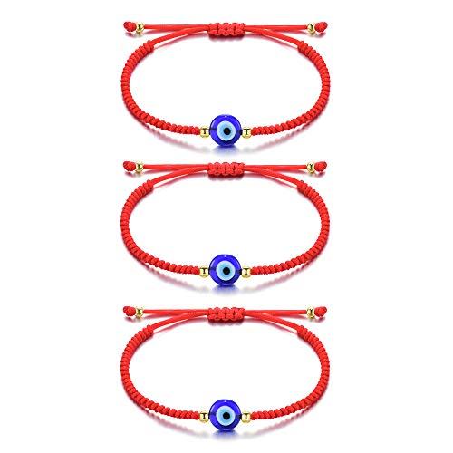 Seyaa Handmade Evil Eye Bracelets Red String Bracelet Ojo Turco Kabbalah Protection Luck Amulet Wish Bracelet Jewelry for Women Men Family Friends