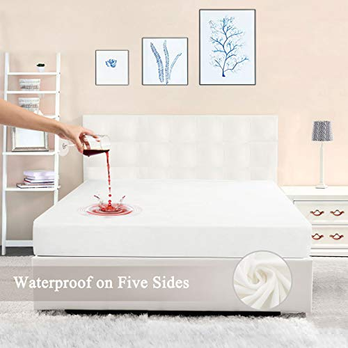 PiccoCasa Mattress Protector Cover Waterproof Five-sides Crystal Velvet Breathable Bed Fitted Sheet White 203 x 199cm