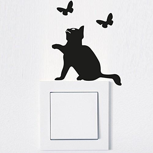 Wandtattoo in deiner Wunschfarbe Aufkleber Lichtschalter Katze Cat Steckdose Fun Tier 8,5x10,6 cm Wand Aufkleber Sticker