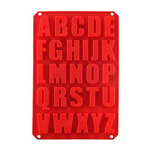 Kylewo Siliconen mal in Engels alfabet vorm, 26 letters siliconen mal zeep bakvorm chocolade schimmel, rood