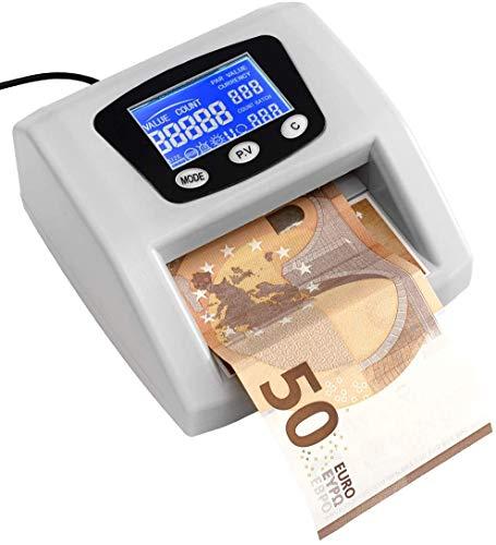 JeVx Maquina Detector y Contador de Billetes Falsos Automatico Introduce el Billete en Cualquier Posicion Comercial de Dinero 5 Sistemas de Deteccion Seguridad Euros