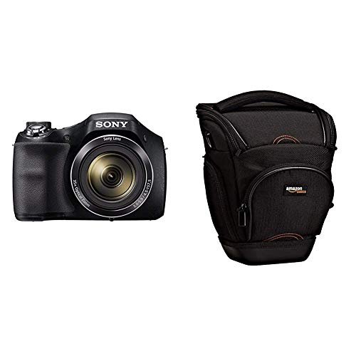 Sony DSC-H300 - Cámara compacta de 20.1 MP (Pantalla de 3', Zoom óptico 35x, estabilizador de Imagen electrónico, vídeo HD 720p), Negro + AmazonBasics - Funda para cámara de Fotos réflex, Color Negro