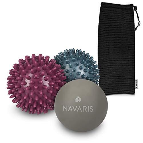 Navaris 3x Massageball Set - 2x Igelball mit Noppen 1x Lacrosse Ball - Massage für Schulter Rücken Fuß Hand - Fitness Noppenball medium hart