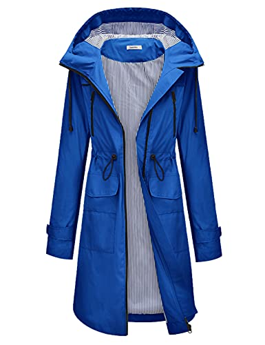 JASAMBAC Plus Size Rain Coats for Women Lightweight Rain Jackets Waterproof with Hood Outdoor Long Coats Denim Blue 2XL